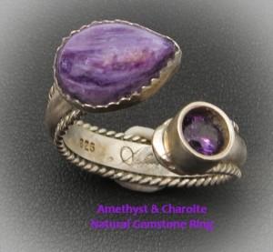 amethyst charoite Ring